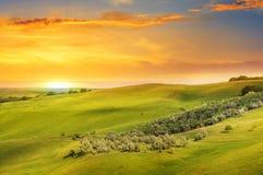 领域、小山和日出 免版税库存图片