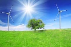 领域、树和蓝天与风轮机 免版税库存照片