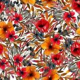 领域与红色和黄色花的花纹花样 库存例证