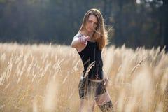 领域国家秀丽的妇女女孩 图库摄影