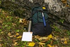领域地质学家` s成套装备 库存照片