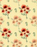 领域橙色花花束的水彩无缝的样式在白色背景的 免版税库存照片