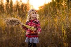 领域的小女孩与日落 免版税库存照片