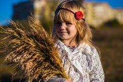 领域的小女孩与芦苇 库存图片