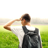 领域的少年 免版税图库摄影
