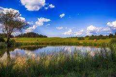 领域的干草堆与一个池塘在波兰 免版税图库摄影