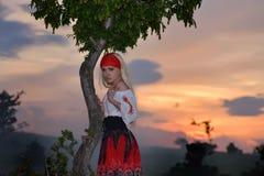 领域的美丽的白肤金发的妇女在日落,夏天晚上 库存照片
