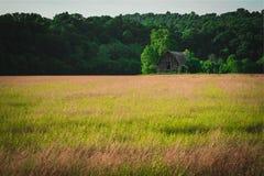 领域的老被放弃的谷仓 免版税库存照片