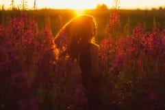 领域的,太阳背后照明,日出跳舞的美丽的女孩 免版税库存照片
