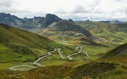 领域看法用通往瓦努科省,秘鲁的道路 库存照片