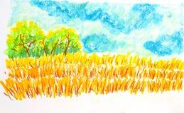 领域风景,上油淡色绘画例证 图库摄影
