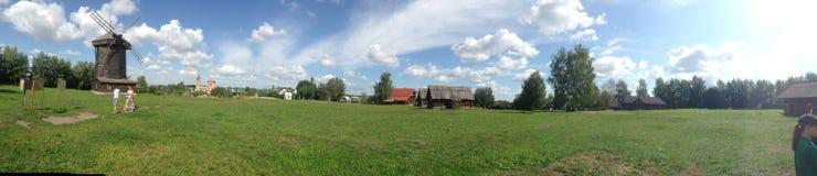 领域/农场的全景 免版税库存照片