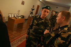 领导会议军人 库存图片