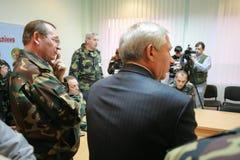 领导会议军人 库存照片