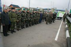 领导会议军人 图库摄影