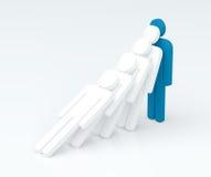 领导字符(领导概念)的力量(3D回报) 免版税图库摄影
