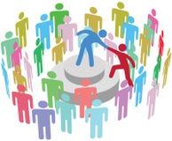 领导帮助人与小组谈话 库存例证
