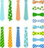 领带和蝶形领结在动画片平的样式设置了 免版税库存图片