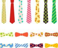 领带和蝶形领结在平的动画片样式设置了 免版税图库摄影
