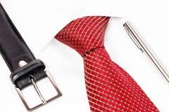 领带打结了有笔和传送带的双重温莎 图库摄影