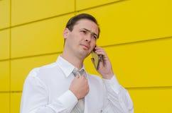 领带的商人由电话讲话 库存图片