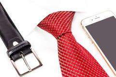 领带被打结的双重温莎和得心应手 库存照片
