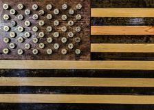12颗测量仪猎枪弹用于创造星在一面美国国旗 库存图片