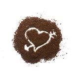 颗粒状咖啡心脏标志 库存图片