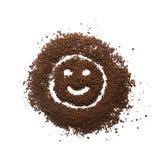颗粒状咖啡愉快的标志 免版税库存照片