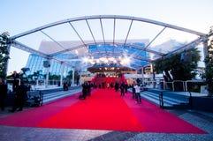 题名和电影迷在Palais之外会集在第65加州 免版税图库摄影