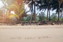 题字在沙滩的'Happy新的Year'在棕榈树背景  被定调子的照片 免版税库存照片