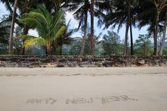 题字在沙滩的'Happy新的Year'在棕榈树背景  库存照片
