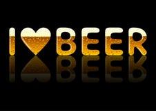 题字我爱啤酒 库存照片