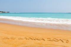 题字斯里兰卡2017在美丽的海滩做了 免版税库存图片
