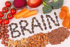 题字脑子和健康食物力量和好记忆的,滋补吃包含的自然矿物 免版税库存照片