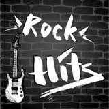 题字-岩石命中和吉他在砖墙上 皇族释放例证