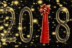 题字2018年和从磁带的圣诞树在与落的雪,金黄雪花的黑背景被隔绝 免版税库存图片