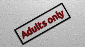 题字`仅成人` 数字式例证 3d翻译 免版税库存照片