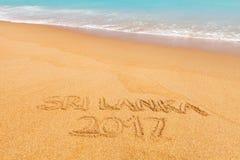 题字& x22; 斯里兰卡2017& x22;做在美丽的海滩 库存照片
