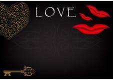 题字`爱`和心脏在黑背景 库存图片