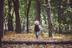 题材儿童室外活动 白种人白肤金发的女孩通过克服障碍的滑稽的矮小的婴孩,树的森林走跌倒了 免版税图库摄影