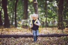题材儿童室外活动 白种人白肤金发的女孩通过克服障碍的滑稽的矮小的婴孩,树的森林走跌倒了 库存照片