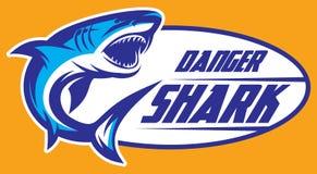 颜色一个暴牙的鲨鱼的传染媒介例证 免版税库存图片