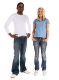 颜色不同的人员剥皮二个年轻人 免版税库存照片