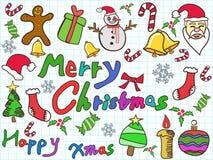 颜色乱画圣诞节背景 免版税库存照片