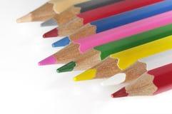 颜色五颜六色的蜡笔 库存照片