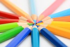 颜色五颜六色的铅笔团结 免版税库存图片