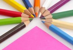 颜色五颜六色的铅笔 库存照片