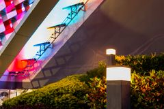 颜色光抽象背景,在购物中心前面 图库摄影