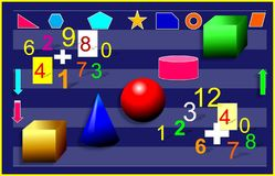 颜色几何形象和数字 例证,背景 皇族释放例证